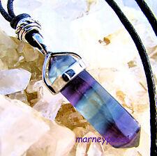Fluorite Pendant Necklace Gemstone Chakra Healing Crystal Point Cord Reiki