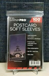 """100 Ultra Pro 3"""" X 5"""" Postcard Soft Sleeves - (Holds up to 3-11/16"""" X 5-3/4"""")"""