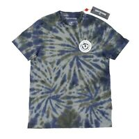 New True Religion Men's Tie Dye Arched Logo Tee T-Shirt Blue Gray Size Small Nwt