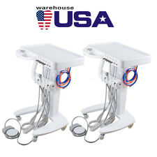US 2* Mobile Dental Delivery Unit Cart Equipment 4 Hole 3 Way Syringe Compressor