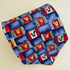 Dunhill Silk Necktie Horses Chickens Birds Blue Red Squares Rectangles Italy