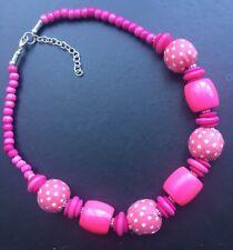 Funky Chunky Bright Pink Polka Dot Summer Resin Necklace - UK Seller
