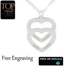 personalisiert doppelt Liebe Herz Halskette bis zu 4 Namen graviert
