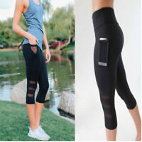Women Compression Sport Yoga Shorts Pocket Tights Quick Dry Fitness Gym Pants