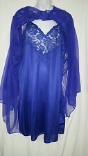 "Ventura Knee Length  Purple Nightgown w/Sheer Robe Size 2X  54"" BUST"