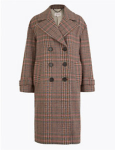 M&S PER UNA PINK MIX WOOL BLEND CHECKED DOUBLE BREASTED COAT