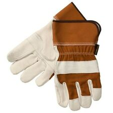 Laurentide Men's White Deerskin Double-Palm Work Glove, Partly Lined, 2 Pairs, L