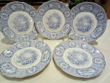 "5 Antique RIDGWAYS ""ORIENTAL"" BLUE ~PIE~TEA~TOAST PLATES 6¾"" Worn Gold Trim Eng"