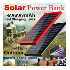 30000mAh Mobile Power Solar Panel Large Capacity Travel Charger Dual USB
