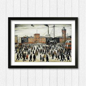 Going to Work People FRAMED WALL ART PRINT ARTWORK PAINTING LS Lowry Style