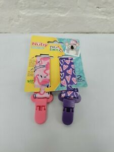 Nuby Infants 2-Pack Pacifinder Pacifier Clips Pink
