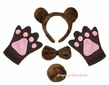 Halloween Party Coffee Brown Bear Adult Headband Paw Tail Bow Animal Costume Set