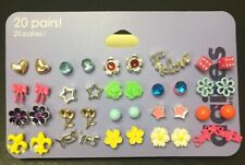 20 Pairs of Claire's Stud Earrings For Girls Variety Assortment Set
