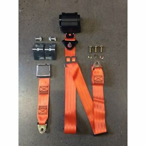2pt Orange Retractable Airplane Buckle Lap Seat Belt w/ Anchor Hardware Ford Car