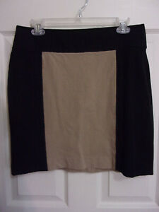 10P Banana Republic Black/Tan Color Block Stretch Pencil Skirt~Above Knee~EUC