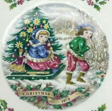 1979 Vtg Royal Doulton Christmas Plate Third in a Series Kids w Sled Xmas Tree