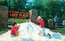 Lake Placid New York No Miracle Its Real Snow Postcard Women Have Snowball Fight