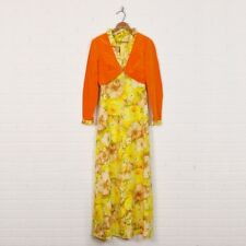 Vtg 70s 2 Pc Yellow Floral Print Maxi Dress Orange Velvet Bolero Shrug Jacket S