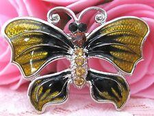 Girls Yellow Butterfly Crystal Rhinestone Brooch new