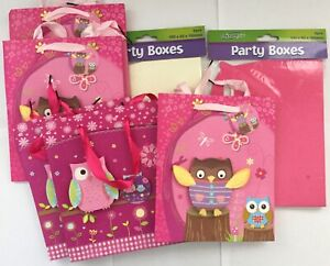Bundle buy clearance - 5 gift bags, 12 party boxes owl pink cream birthday
