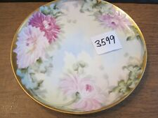 Antique Limoges 8 1/2 inch plate Hp Chrysanthemum Heavy Gold Trim