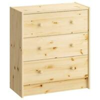 Ikea Solid Wood Dresser 3 Drawers Pine Wardrobe 62x70cm