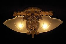 Two Bulb Flush Mount Batwing Slip Shade With White Frosted Shades-Restored
