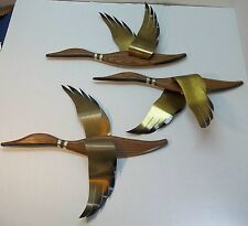 3 Vintage Masketeers Flying Geese Ducks Wall Art Mid Century Modern Wood Brass