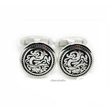 Silvered solid brass vintage dragon round shape Cufflinks  Dia 17mm