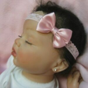 Soft Pink Satin Dainty Hair Bow Headband 4 Preemie Newborn Baby Toddler Easter