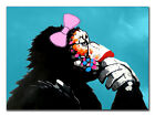 "Modern Abstract Art Monkey Chill GIRL CANVAS PRINT blue poster 24""X36"""