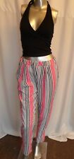 Ladies Slim Fit Leg Striped Pink white Black Trousers Pants Summer Casual 8-10