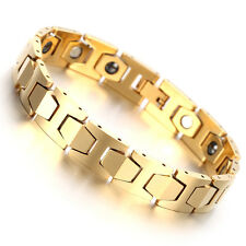 Men's Gold Tungsten Carbide Magnetic Therapy Germanium Link Bracelet Pain Relief