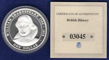 Cook Islands, 2005 Silver Proof Dollar, $1, Shakespeare, with COA (Ref. t1134)