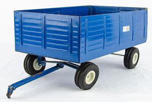 "Vintage 1970s ERTL 806 Ford 'The Big Blue' 15"" Pressed Steel Forage Wagon - 1:12"