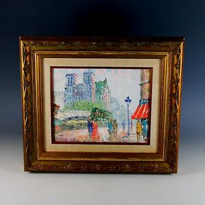 Framed Impressionist Oil Painting of Paris Street Scene Signed