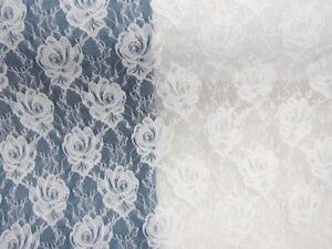 Spitze Stoff elastisch Meterware Große Rosenblüten Weiß EUR 10,98/m