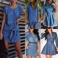Damen Jeanskleid Hemdkleid Tunika Longshirt Bluse Denim Shirtkleid Sommerkleid