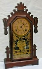 "ANTIQUE ANSONIA ""ATLAS"" SHELF MANTEL WOOD 8 DAY CHIME CLOCK WORKING"