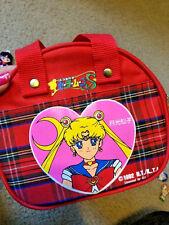Sailor Moon S fabric zipper bag purse handbag Japan Japanese red plaid