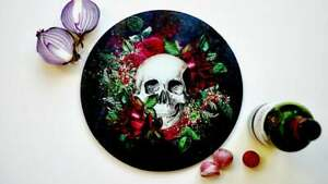 Floral Skull Glass Chopping Board / Worktop Saver / Serving Platter /Cake Plate