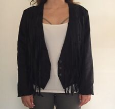 New KENDALL & KYLIE Black Faux Suede Fringe Jacket  Women's Sz Med NWT Free Ship