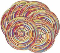 Placemats Round Set of 4/6 Non-Slip 15 Inches Table Placemats Rainbow Kitchen
