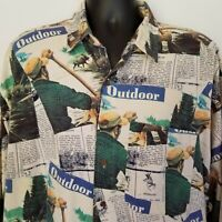 COLOURS by ALEXANDER JULIAN OUTDOOR Mens Shirt Sz XL Canoe Print Long Sleeve VTG