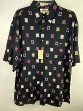 NWT Campia Moda Men's Black Short Sleeve Button-Up Shirt with Pocket Size Large