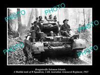 OLD HISTORIC PHOTO AUSTRALIAN MILITARY WWII MATILDA TANK REGIMENT SOLOMONS 1943