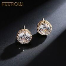 10mm Men Women Sterling Silver Post Stud Crown Cubic Zirconia Earrings Gift Box