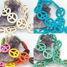 Howlite Turquoise Loose Beads Peace Sign Spacer 15mm 20mm 25mm 30mm 4 Colors