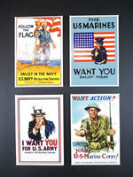 Souvenir Magnet US Army,Navy,Marines,4 Stück,United States,Neu