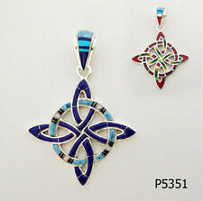 REVERSIBLE MULTICOLOR TURQUOISE OPAL INLAY .925 SILVER PUZZLED KNOT PENDANT